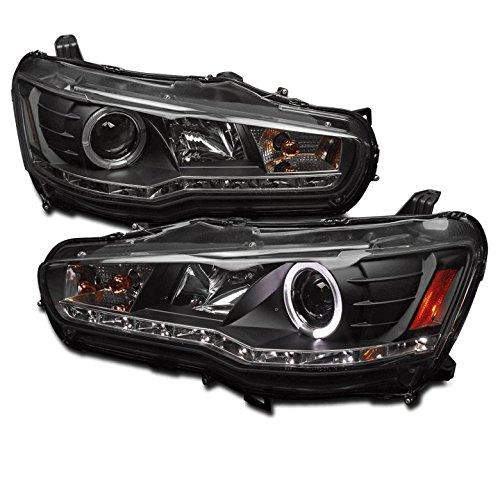 ZMAUTOPARTS Mitsubishi Lancer Evo X Halo DRL LED Projector Headlights Black ()