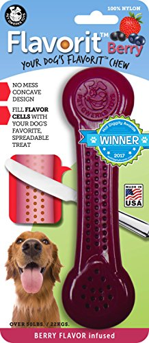 Pet Qwerks Flavorit Bone Dog Chew Toy Berry Flavor Infused for Aggressive Chewers (Made in The USA)