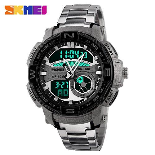caluxe gran Dial cuarzo hombres relojes digitales luminoso Deportes Relojes de pulsera moda casual acero inoxidable Watchbands: Amazon.es: Relojes