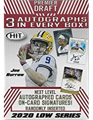 2020 SAGE PREMIER DRAFT Series Factory Sealed Blaster Box with 3 Autographed Cards and a Chance for Joe Burrow, Tua Tagovailoa, Jerry Jeudy and Other Top Prospects