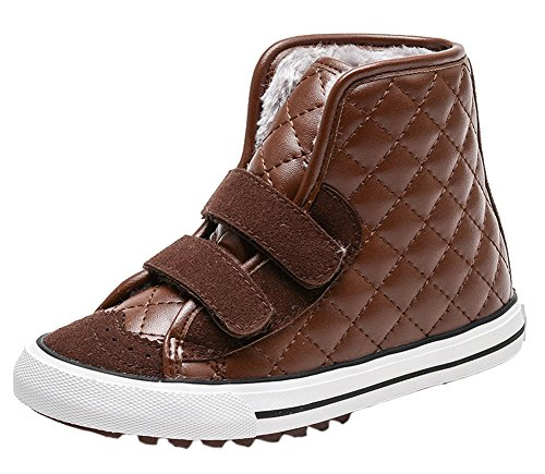 VECJUNIA Boys Girls Winter Waterproof High Top Sneakers Checkered Short Boots Brown 11 M US Little Kid by VECJUNIA