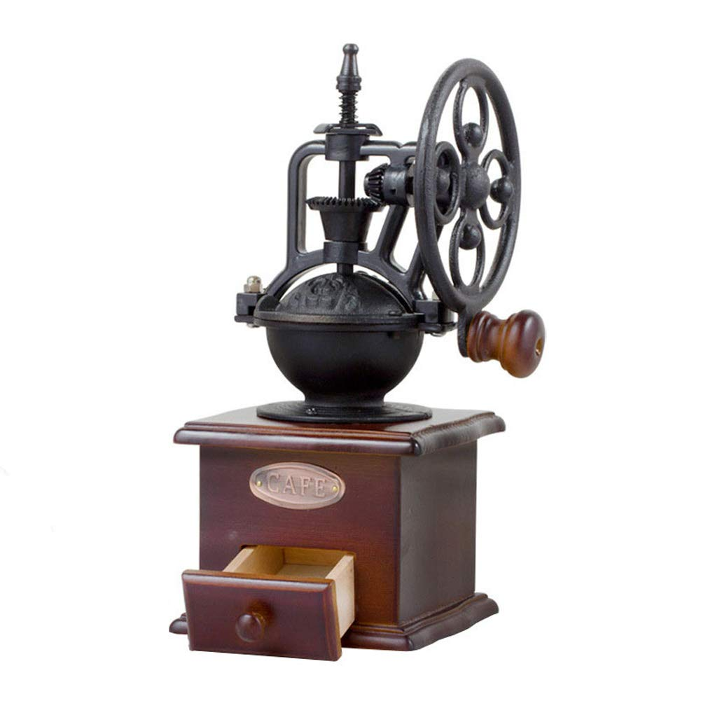 Manual Coffee Grinder Portable Hand Pepper Mill Antique Cast Iron Hand Crank Coffee Mill with Grind Settings and Drawer Type Powder Box, Brown
