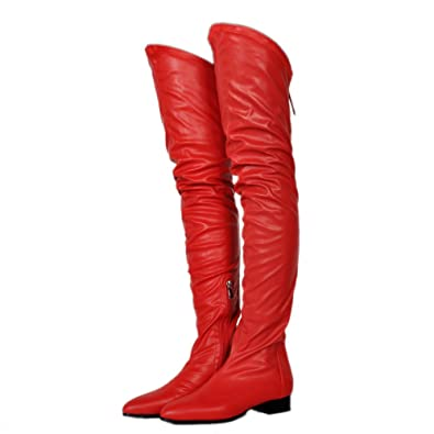 759e1ada1 KiwiCedar Knee High Gladiator Boots for Women, Women's Heel Thigh High  Stretch Combat Boot,