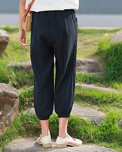 Grazioso Harem Pluderhose Eleganti Sciolto Giovane Lanterna Pantaloni Women Pantaloni Pantaloni Estivi Tempo Accogliente Donna Nero Di Monocromo Casuali Elastica Pantaloni Vita Fashion Libero 5wPZS6qx