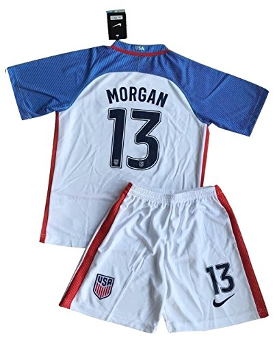 RenJing Dun 2016-2017 Alex Morgan #13 USA National Home Jersey and Shorts for Kids/Youth (11-13 Year)