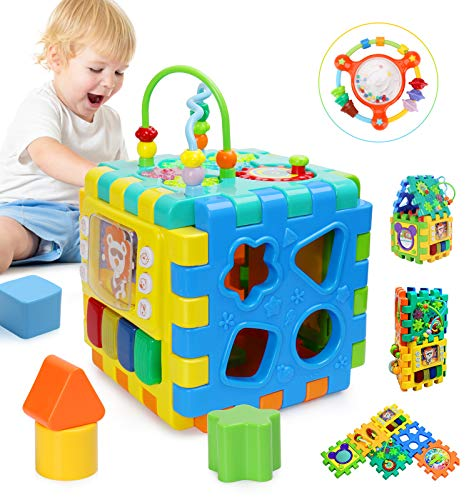 BBLIKE Baby Activity Cube with Bead Maze, 6 in 1 Multipurpose Activity Center Busy Learner Cube with Shapes Maze Music Gears Clock Educational for Kids 1 Year+ (Best Activity Cube For Baby)
