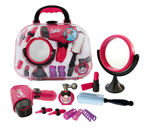 Plastic Pretend Play Beauty Kit Including Hair Dryer Curling Iron Mirror Scissors Hair Brush and More (Princess Hair Kit)