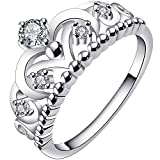 LWLH Jewelry Womens 925 Sterling Silver Plated Cubic Zirconia CZ Princess Crown Tiara Ring Wedding Band
