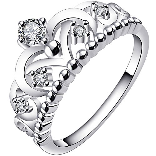 LWLH Jewelry Womens 925 Sterling Silver Plated Cubic Zirconia CZ Princess Crown Tiara Ring Wedding Band Szie 4
