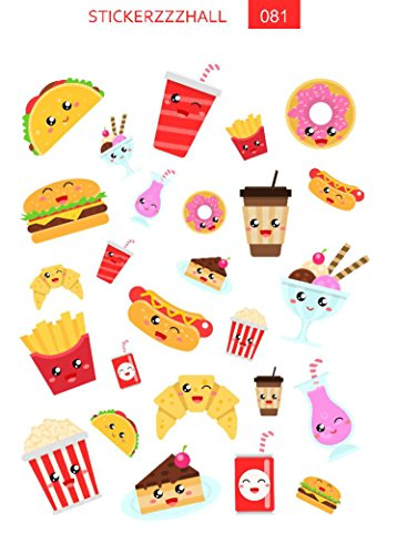 Food stickers, planner stickers, fast food stickers, cheeseburger sticker, kawaii stickers, meal stickers, functional stickers, sticker set