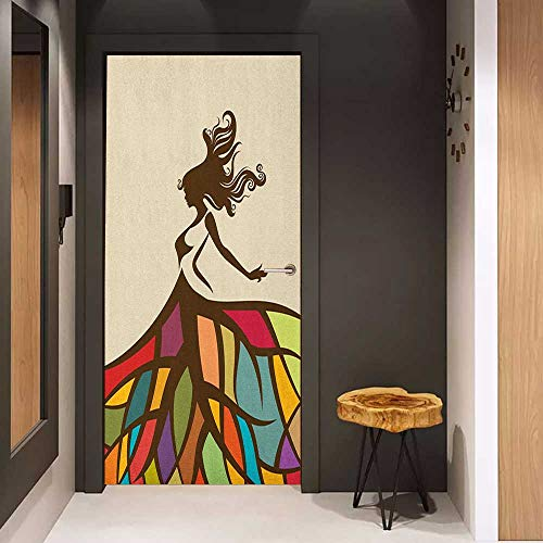 Onefzc Door Wall Sticker Youth Drawing of a Young Woman Figure with a Puffy Colorful Artistic Skirt Fashion Theme Mural Wallpaper W36 x H79 Multicolor