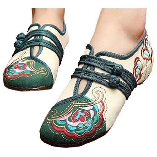 de Flores Elegantes Crema Bordados Zapatos Bonitos de y Botones 0IqwTv1x