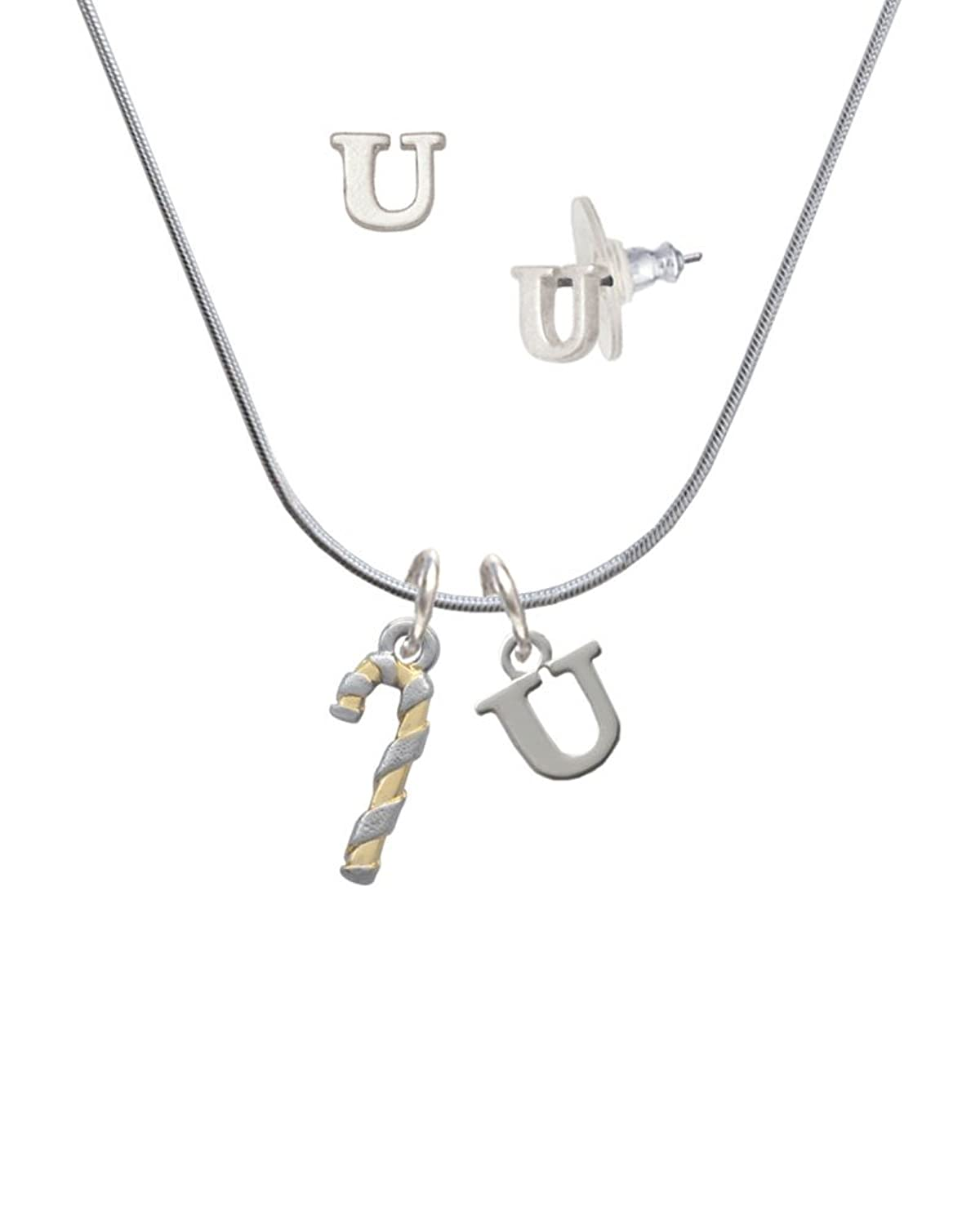 3-D and Gold Tone Candy Cane - U Initial Charm Necklace and Stud Earrings Jewelry Set