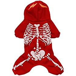 Scheppend Pet Spooky Skeleton Romper Costume for Dogs Hoodies Fancy Halloween Clothes,Red S