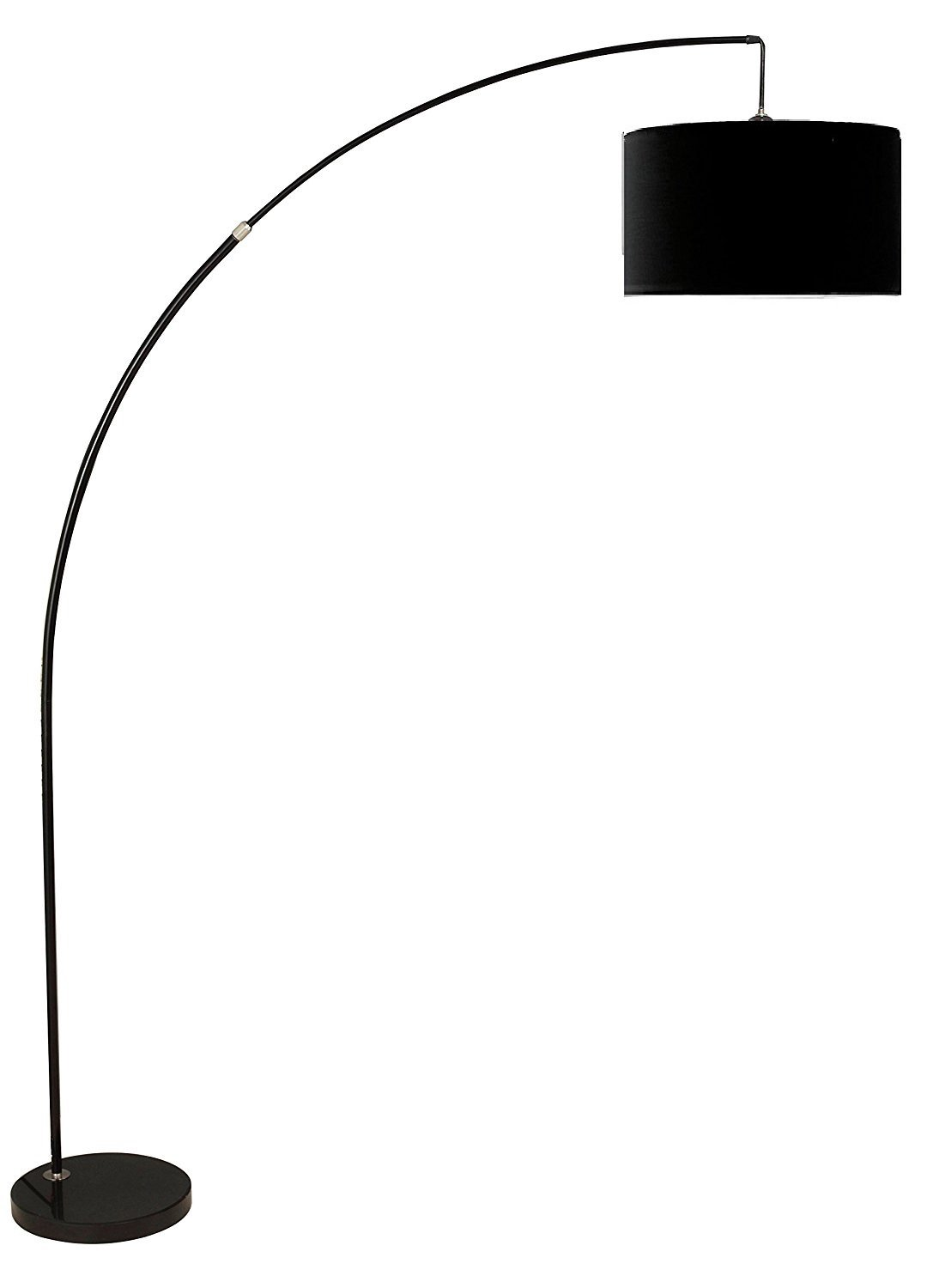 Major-Q 6931BK 81'' H Steel Adjustable Arching Floor Lamp with Marble Base, Extra Large, Black