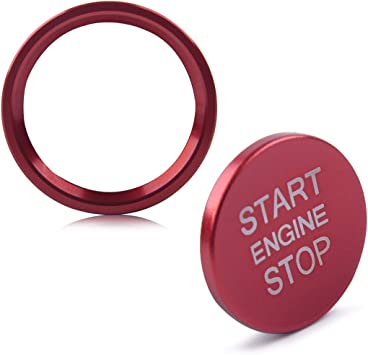 beler 2PCS//Set Engine Start Stop Ignition Switch Push Button Cover Ring Trim Sticker Red