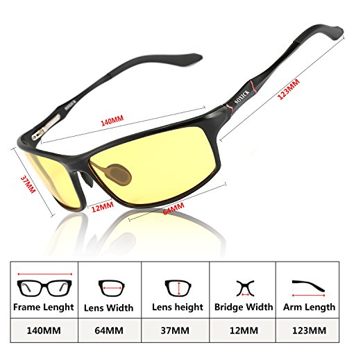 Night Driving Glasses Polarized Anti-glare Fog Safe Unisex Night Vision Glasses Black-2
