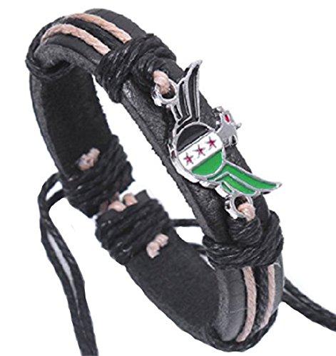 Syria Flag Leather Bracelet Bangle Syrian Rebels Flag Wristband Cuff (Flag Rebel Leather Mens)