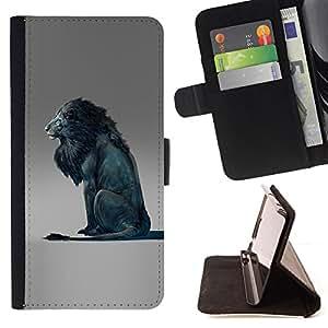 Jordan Colourful Shop - lion blue king abstract grey king For Samsung Galaxy S5 Mini, SM-G800 - < Leather Case Absorci????n cubierta de la caja de alto impacto > -