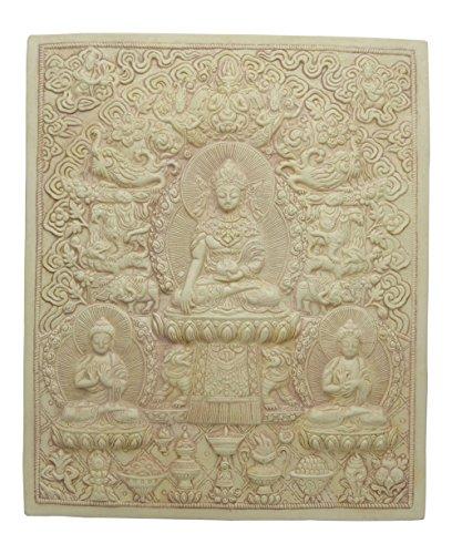 (Tibetan Buddhist Relief Plaque in Stone Finish)