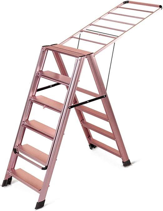 DZWSD Tendedero Escalera 6 peldaños 2 en 1 Aleación de Aluminio Resbalón Grueso No se oxida Taburete de Trabajo, Perfil Multifuncional Estante de Secado de Ropa, Peso del rodamiento 150kg: Amazon.es: Hogar
