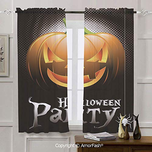 Halloween Window Voile Panels for Bedroom & Kitchen,Set of 2,Rod Pocket,42x63 Inch Halloween Party Theme Scary Pumpkin on Abstract Modern Backdrop Spider Decorative -