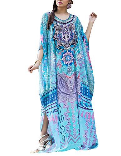 (Ailunsnika Women Plus Size O Neck Beach Bikini Cover Up Batwing Sleeve Blue Print Turkish Robes Kaftan Dress)