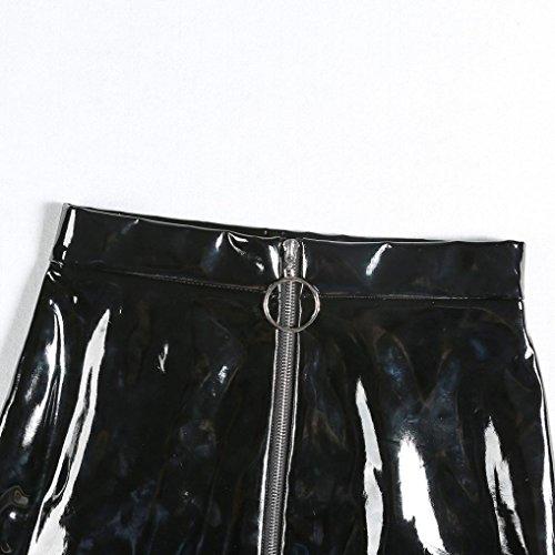 Noir en Mini Crayon Jupes Slim Femme Jupe LuckyGirls Courte Fente Cuir Sexy Noir Avant qtB75T