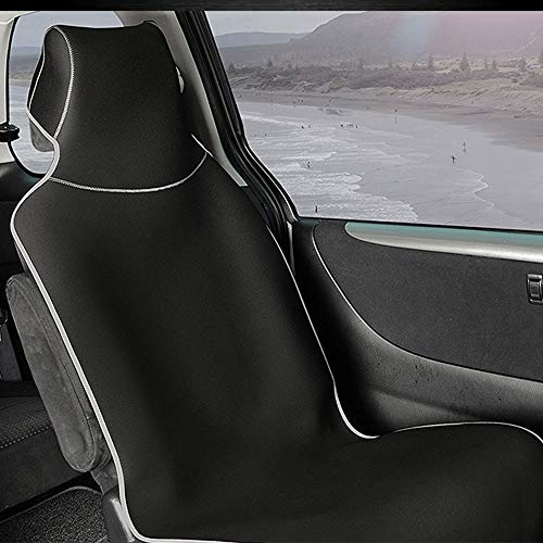 Premium Waterproof Universal Car Seat Cover, Neoprene Rubber Seat Protector, Non-Slip Fit, Best Protection for Sports, Gym, Yoga, Workouts, Fitness, Running, Dirt, Pets (Black with Sliver Trim)