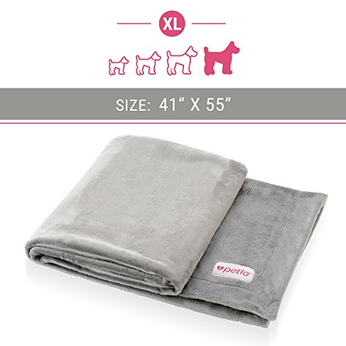 """Petlo Soft Fleece Dog and Pet Blanket - Extra Comfortable Reversible Velour and Short Plush Fabric Protects Furniture and Beds - Machine Washable and Pill Resistant - 41"""" X 55"""" - By"""