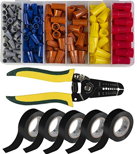 Maximm Cable AWG 10-22 Wire Stripper Bundle Kit - Wire Crimper And Multi-Function Hand Tool, 172 Pieces Assorted Screw-on Wire connectors, 5 Pack 3/4-In 30 Ft Utility PVC Electrical Tape - UL Approved