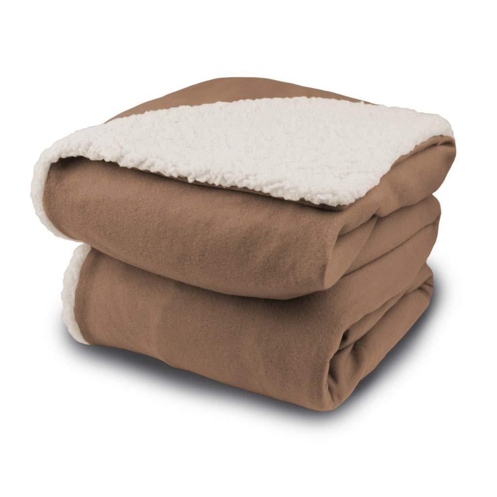 Biddeford Comfort Knit Electric Heated Throw Blanket Sherpa Fawn