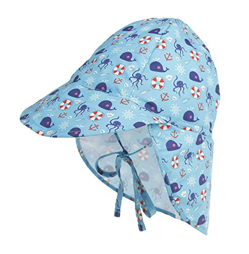 DANMY Child Brim Sun Hat Girl Bucket Hats - UPF 50+ Protection Hat Toddler Bow Hats (44-48cm (3-18 Month), Blue-Devilfish)