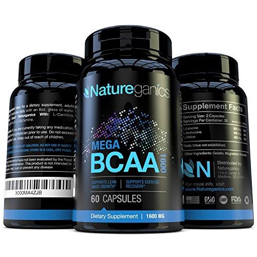 Natureganics MEGA BCAA Amino Acids Dietary Supplement, 1600 mg, 60 Capsules