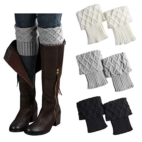 Cute Thanksgiving Outfits For Women (3 Pairs Women Boot Cuffs Leg Warmers Crochet Short Knitted Socks Warm Toppers Winter)