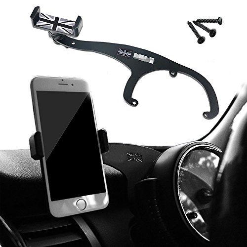 GTinthebox Smartphone Cell Phone Cup Mount Holder with Cradle Rotatable Clip (Black & Gray Union Jack Flag Style, 3.5-5.5 Inch Phone) for Mini Cooper R60 R61, 1 Pack