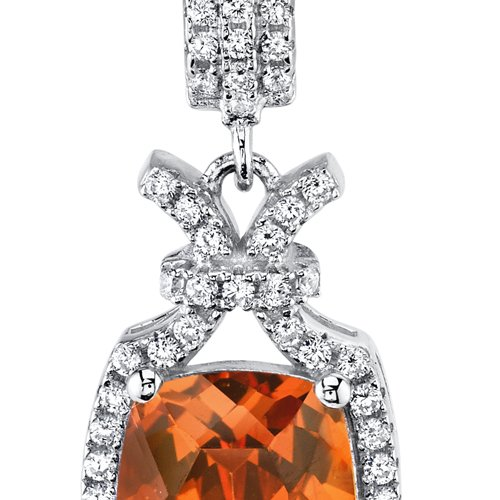 5.00 Carats Created Padparadscha Sapphire Pendant Sterling Silver Cushion Cut