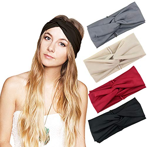 DRESHOW Cross Headbands Vintage Elastic Head Wrap Stretchy Moisture Hairband Twisted Cute Hair Accessories (4 Pack Cross Cloth: Black, Burgundy, Grey, -