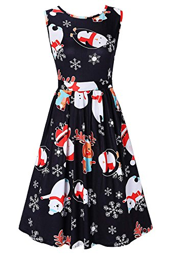 DREAGAL Ladies Xmas Christmas Penguin Rudolph Flared Party Dress 2XL (Rudolph Penguin)
