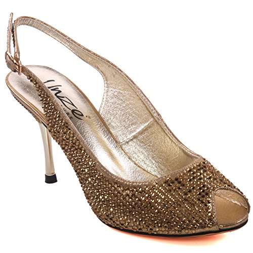 Unze Mujeres Caprio ' sandalias de la manera Shimmery Gold