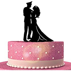 Military Groom & Bride Wedding Cake Topper Silhouette (Multiple Color Optional)