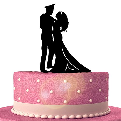 Amazon Com Military Groom Bride Wedding Cake Topper Silhouette