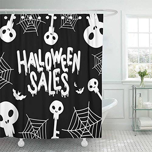 Shower Curtain 72x72 Inch Home Postcard Decor Gray Autumn Happy Halloween Sales The Trend Calligraphy with Scull and Bats Silver Shower Hook Set are Included -