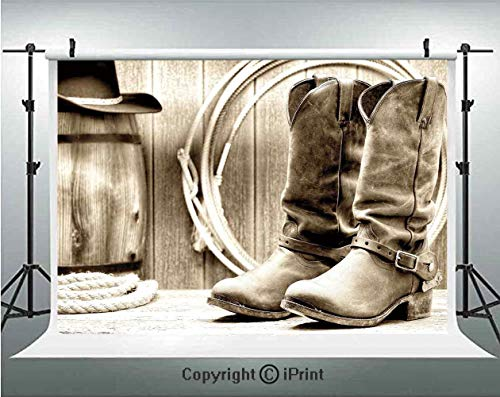 Western Photography Backdrops Traditional Rodeo Supplies with Roper Boots in Vintage Colors Nostalgic Wild Photo Decorative,Birthday Party Background Customized Microfiber Photo Studio (Best Soccer Boots In The Worlds)