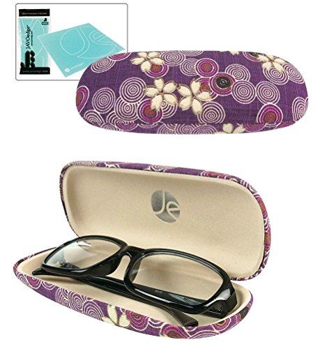 JAVOedge Cherry Blossom Print Eyeglass Clam Shell Style Case with Bonus Microfiber Glass Cleaning Cloth