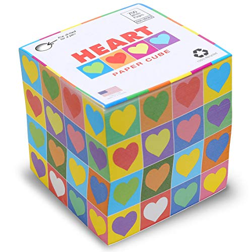 EARTHCUBE 'Heart' Blank white pages Note Cube Pen Hole Not Sticky 3.5
