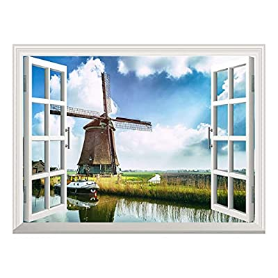 Removable Wall Sticker Wall Mural Windmill Under Blue...36
