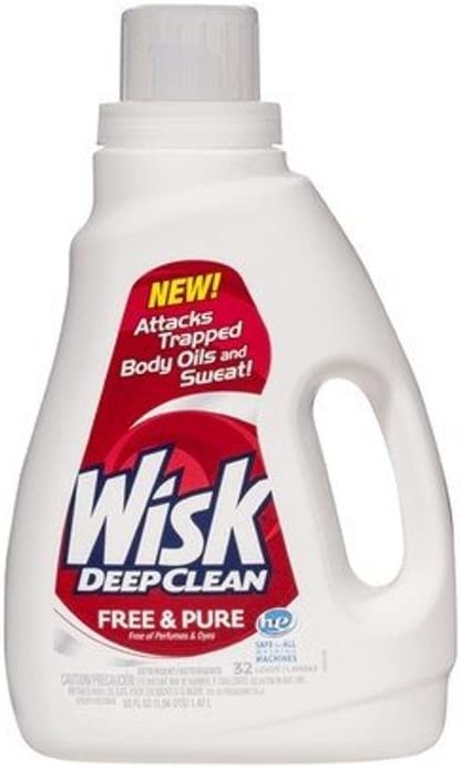 Wisk Deep Clean Liquid Laundry Detergent, Free & Pure, 50 Ounces