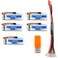 UUMART JJRC H37 RC Quacopter Spare Parts 20C 3.7V 500mAh Li-Polymer Battery 5PCS and USB Charger