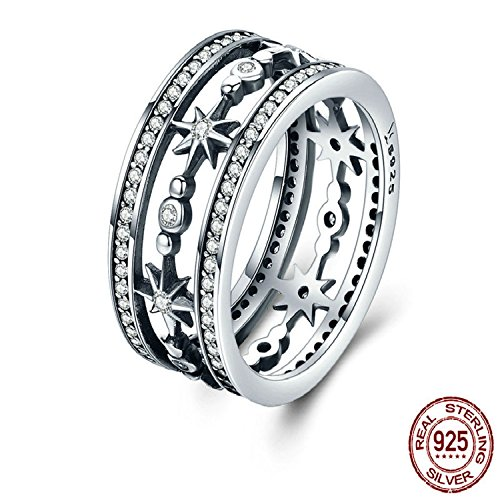 100% 925 Sterling Silver Cocktail Sparkling Star Female Rings For Women Sterling Silver Jewelry Anel SCR258